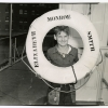 """Boy with lifesaver aboard """"Elizabeth Monroe Smith"""" steamship. Image provided by Historical Society of Pennsylvania"""