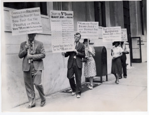 Protest at Councilman Hollenback's office. Image provided by Historical Society of Pennsylvania