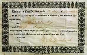Dennis Donoghue and Jane Sergeson Marriage Deed