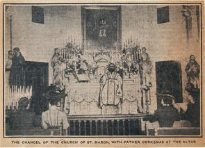 The Chancel of the Church of St. Maron, with Father Corkemas at the Altar. Image provided by Historical Society of Pennsylvania