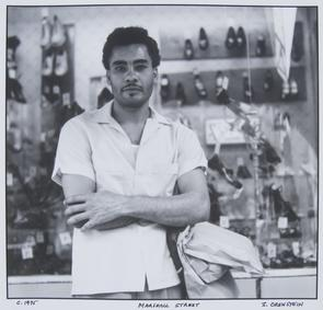 Marshall Street: man in front of shoe store. Image provided by Irv Orenstein