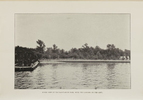 River view of the Sanitarium Park, with the landing on the left. Image provided by Historical Society of Pennsylvania