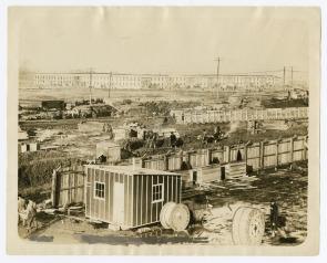 Workmen's Barracks on Hog Island . Image provided by Historical Society of Pennsylvania