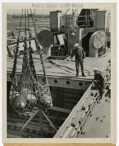 Coast Guard on Hog Island Explosive Loading Pier. Image provided by Historical Society of Pennsylvania