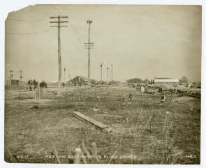 Pole Line East Showing Flood Lights on Hog Island . Image provided by Historical Society of Pennsylvania