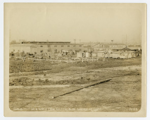 Hog Island--View North from Hospital Building, Garage at Left. Image provided by Historical Society of Pennsylvania