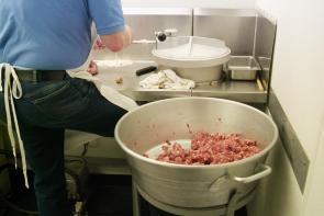 Dan Fiorella making sausage. Image provided by Historical Society of Pennsylvania