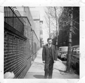Frank Skillman on North Orkney Street near Huntingdon, circa 1960