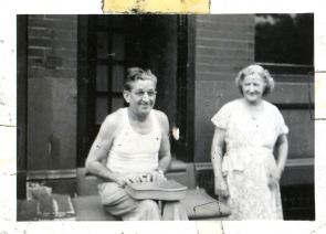 "Frank and Margaret Skillman, grandparents of Frank ""Humphrey"" Skillman, on West Huntingdon Street, circa 1948"