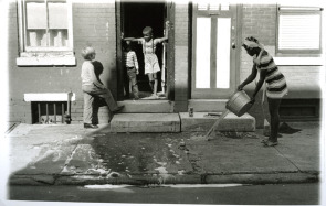 Washing the front steps, 13h & South streets, 1969