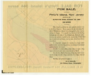 For Sale - Petty's Island (verso). Image provided by Historical Society of Pennsylvania