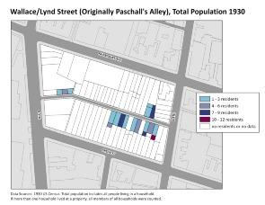 Wallace/Lynd Street (Originally Paschall's Alley), Total Population 1930. Image provided by University of Pennsylvania School of Design
