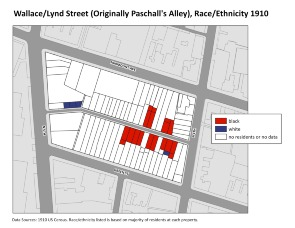 Wallace/Lynd Street (Originally Paschall's Alley), Race/Ethnicity 1910. Image provided by University of Pennsylvania School of Design