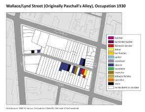 Wallace/Lynd Street (originally Paschall's Alley), Occupations 1930. Image provided by University of Pennsylvania School of Design