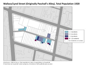 Wallace/Lynd Street (Originally Pascall's Alley), Total Population 1920. Image provided by University of Pennsylvania School of Design