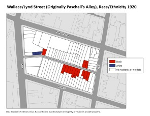 Wallace/Lynd Street (Originally Paschall's Alley), Race/Ethnicity 1920. Image provided by University of Pennsylvania School of Design