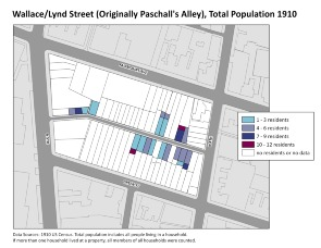 Wallace/Lynd Street (Originally Paschall's Alley), Total Population 1910. Image provided by University of Pennsylvania School of Design