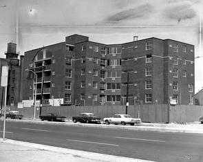 Guild House, under construction. Image provided by Temple University Urban Archives