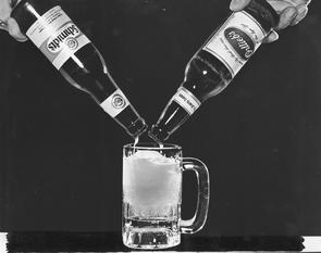 Poured beer (Schmidt's and Ortlieb's). Image provided by Temple University Urban Archives