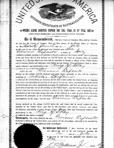 James Esposito's naturalization papers