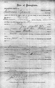 James Esposito's marriage license
