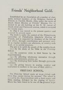 Aims of the Friends Neighborhood Guild. Image provided by Historical Society of Pennsylvania