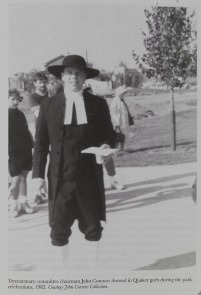 Tercentenary committee chairman John Connors dressed in Quaker garb during the park celebrations, 1982. Image provided by Historical Society of Pennsylvania