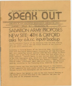 """Speak Out,"" a monthly pamphlet distributed throughout Kensington by Olde Kensington Redevelopment Corporation. Image provided by Olde Kensington Redevelopment Corporation (OKRC)"