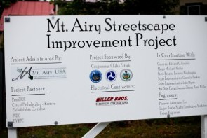 Mt. Airy Streetscape Improvement Project Placard