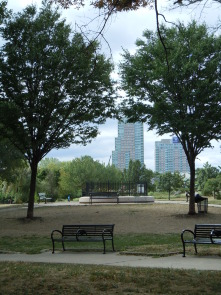 Penn Treaty Park with luxury condominiums at Penn's landing in background