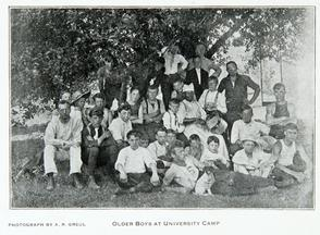 Older boys at university camp. Image provided by Historical Society of Pennsylvania