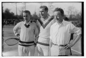 Bill Tilden (center) with Vincent Richards and William Johnston