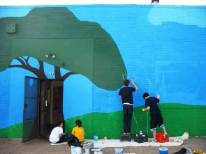 Students working on a mural in South Philadelphia.
