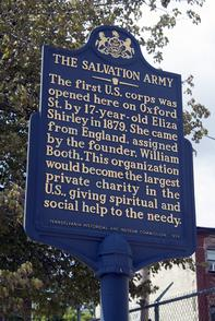 Salvation Army Historical Marker. Image provided by Historical Society of Pennsylvania