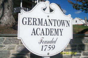 The Germantown Academy sign at the entrance to the school