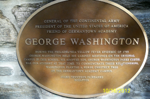 A plaque at Germantown Academy on the George Washington bust