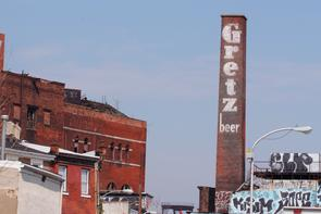 Rieger and Gretz Brewery smokestack. Image provided by Historical Society of Pennsylvania