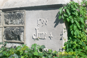 The cornerstone of First United Methodist Church of Germantown which was laid on June 4, 1896