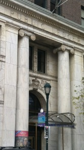 The entrance to the Public Ledger Building