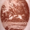 A lithograph of John Bill Ricketts riding on horseback