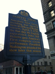 Center City marker at 12th and Market for first performance of Ricketts Circus