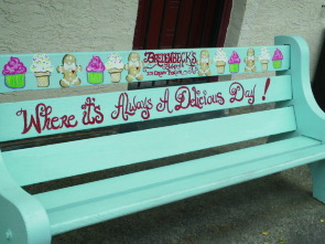 The ice cream bench located outside Bredenbecks bakery