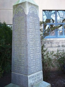 A monument at the Pennsylvania School for the Deaf which lists the names of students from the original Broad and Pine school location