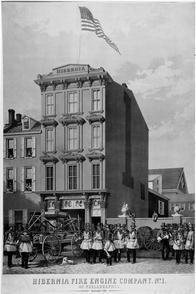 Hibernia Fire Engine Company  no.1. of Philadelphia, assembling for a parade. Image provided by Historical Society of Pennsylvania