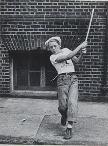 Lighthouse Boys Club halfball player. Image provided by Historical Society of Pennsylvania