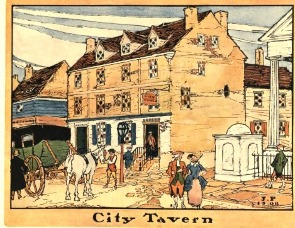 A watercolor of the City Tavern as it looked in the early 1770s