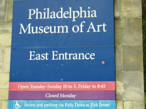 An sign at the east entrance which reads Philadelphia Museum of Art