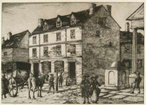 An etching of the original City Tavern at 2nd and Walnut