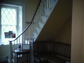 A staircase at the Chestnut Hill Historical Society