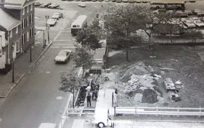 A photograph of the excavation of the original City Tavern in 1974